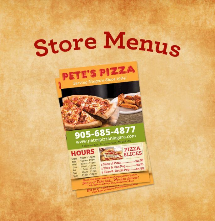 Pete's Pizza Menu